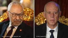 TUNIS, TUNISIA - JANUARY 09 : Tunisia's Speaker of the Assembly of the Representatives of the People, Rached Ghannouchi meets Minister of Foreign Affairs of France, Jean-Yves Le Drian (not seen) in Tunis, Tunisia on January 09, 2020. Nacer Talel / Anadolu Agency | Keine Weitergabe an Wiederverkäufer. rechts: Tunisia's new President Kais Saied takes the oath of office on October 23, 2019 at the parliament in Tunis. - Saied, a conservative academic with no previous political experience who won the overwhelming support of younger voters in an October 13 runoff, was sworn in before members of the constituent assembly and other top state bodies. (Photo by Fethi Belaid / AFP) (Photo by FETHI BELAID/AFP via Getty Images)