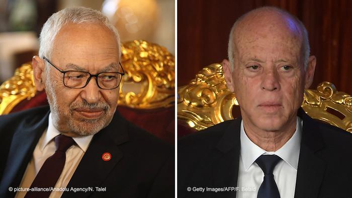 الرئيس التونسي قيس سعيد وراشد الغنوشي زعيم حركة النهضة