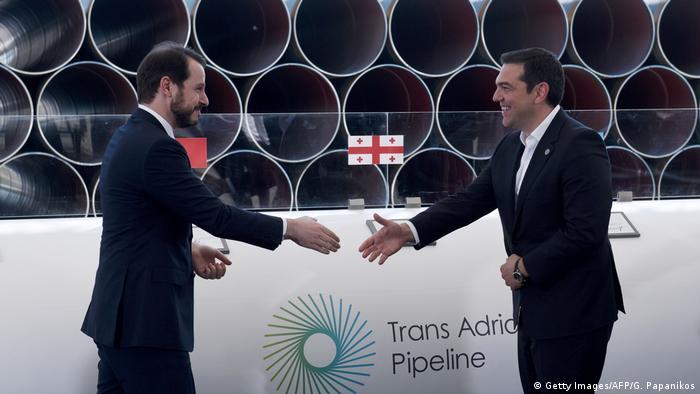 Травень 2016 року. Міністр енергетики Туреччини Албайрк і прем'єр-міністр Греції Ципрас запускають будівництво TAP