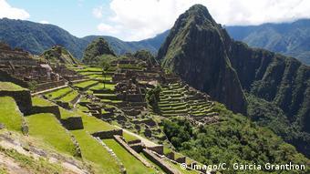 Sunny view of Machu Picchu.