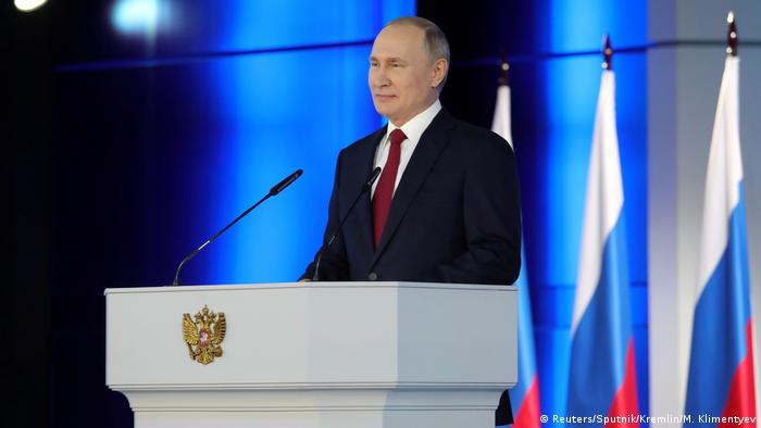Russian President Vladimir Putin delivers his annual address