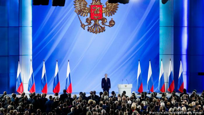 Russia's President Vladimir Putin after delivering an annual address to the Federal Assembly of the Russian Federation