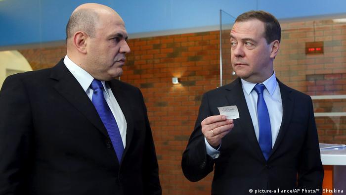 Mishustin and Medvedev in February 2019