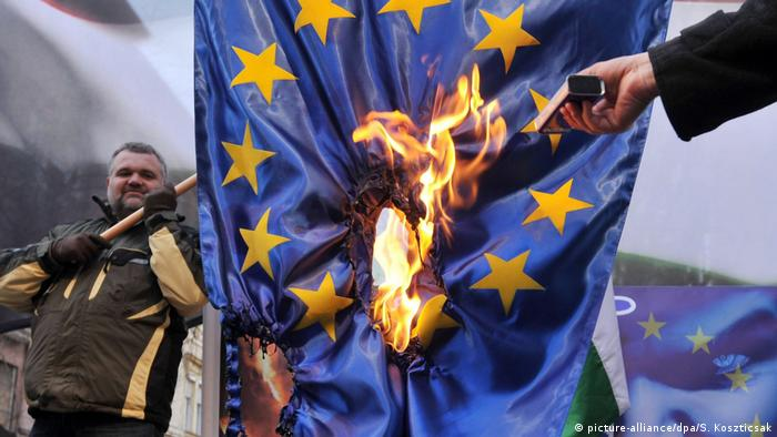 EU flag being burned
