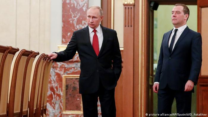 Russland Moskau Präsident Putin und Dmitry Medwedew