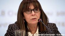 President of the Council of State, Greece's top administrative court, Katerina Sakellaropoulou speaks during an event in Athens, Greece, October 18, 2018. Picture taken October 18, 2018. Vassilis Rebapis/Eurokinissi via REUTERS ATTENTION EDITORS - THIS IMAGE WAS PROVIDED BY A THIRD PARTY. NO RESALES. NO ARCHIVE. GREECE OUT. NO COMMERCIAL OR EDITORIAL SALES IN GREECE.