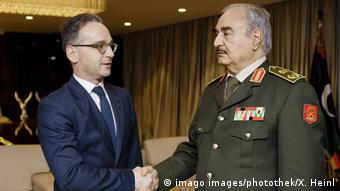 Встреча главы немецкого МИДа Хайко Маса и генерала Халифы Хафтара в Бенгази