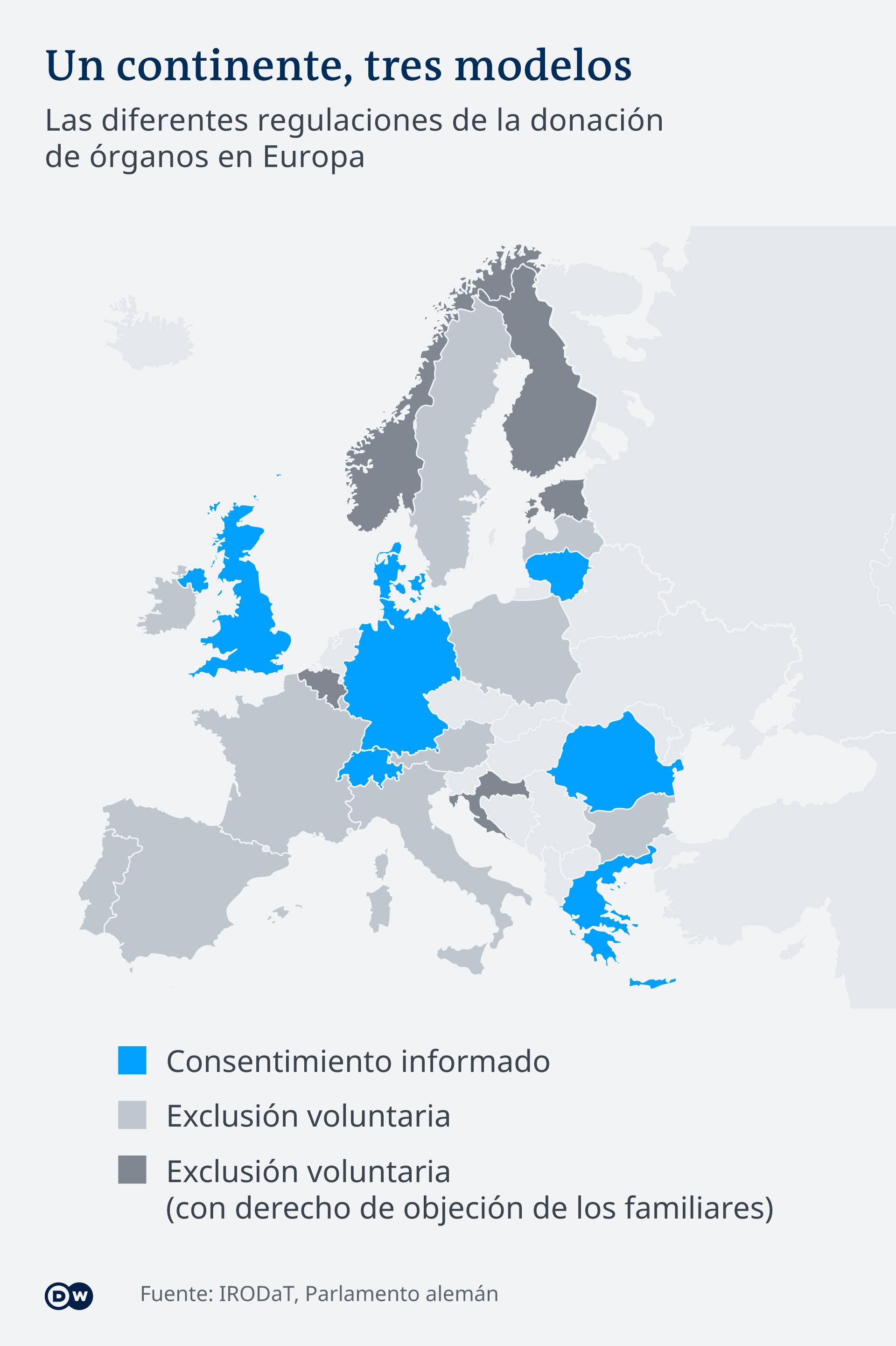 Infografik Karte Organspende Europa ES