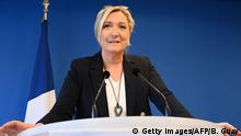 French far-right party Rassemblement National (RN) president Marine Le Pen addresses her new-year wishes to the press on January 16, 2020 at the party's headquarters in Nanterre, near Paris. (Photo by Bertrand GUAY / AFP) (Photo by BERTRAND GUAY/AFP via Getty Images)