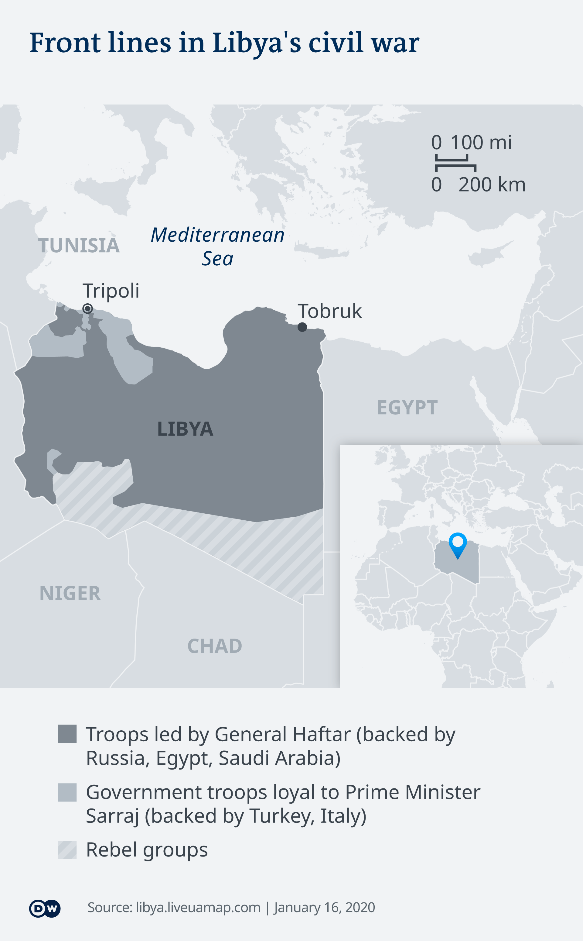 Map showing front lines in the Libyan conflict