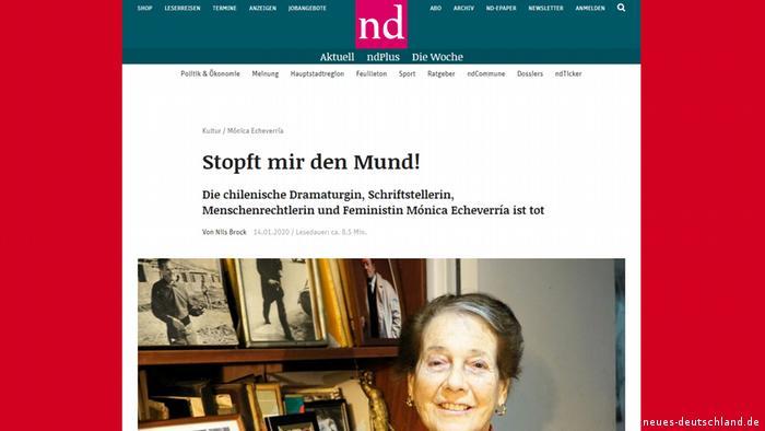 Screenshot - Bericht Neues-Deutschland über den Tod von Menschenrechtlerin Monica Echeverria