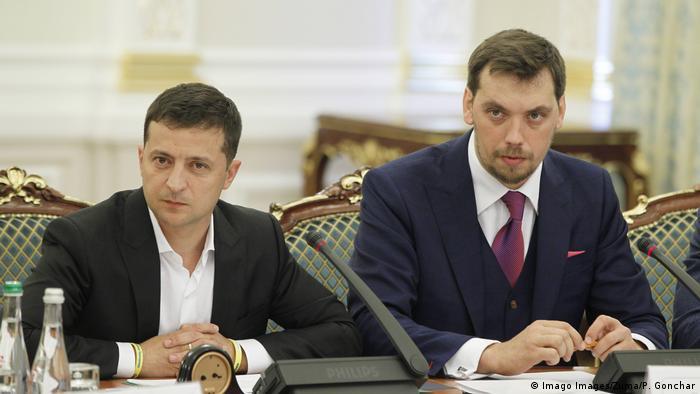 Ukraine President Volodymyr Zelenskiy and Prime Minister Oleksiy Honcharuk