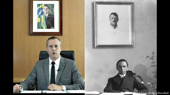 Fotomontage Brasiliens Kulturminister Roberto Alvim und Propagandaminister Joseph Goebbels (Secretária Especial da Cultura/bpk)