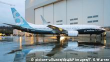 The first Boeing 737 MAX airplane to roll off Boeing's assembly line in Renton, Wash. is shown parked