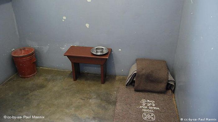 Тюремная камера, в которой находится Нельсон Мандела