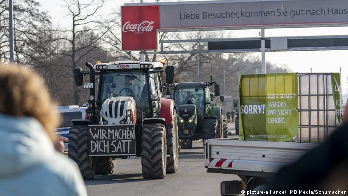 A tractor in at a protest supporting farmers