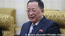 """In this Feb. 13, 2019, photo, North Korean Foreign Minister Ri Yong Ho meets his Vietnamese counterpart Pham Binh Minh at the Mansudae Assembly Hall in Pyongyang, North Korea. Ri called U.S. Secretary of State Mike Pompeo a """"poisonous plant of American diplomacy"""" who hampers efforts to restart nuclear negotiations. Ri issued crude insults against Pompeo on Friday, Aug. 23, 2019 to protest what he called Pompeo's recently reported comments that Washington will maintain crippling sanctions on North Korea unless it denuclearizes. (AP Photo/Jon Chol Jin) 