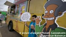 """FILE - In this March 15, 2015, file photo, an Apu cutout is displayed at a Simpsons Kwik-E-Mart Truck in Austin, Texas. Comedian Hari Kondabolu released a film, """"The Problem With Apu,"""" documenting stereotypes he saw with the character and its effect on South Asian entertainers. (Deborah Cannon/Austin American-Statesman via AP, File) 