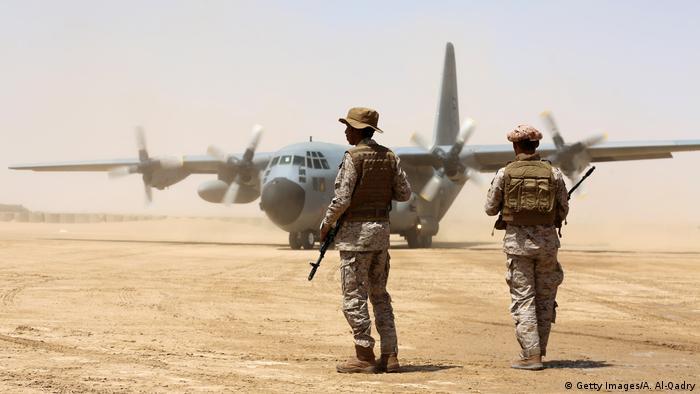 سربازان سعودی در قرارگاه هوایی ائتلاف در استان مارب - عکس از آرشیو - مارس ۲۰۱۸