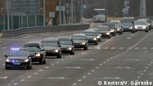 A motorcade of hearses carrying the bodies of the eleven Ukrainian victims of the Ukraine International Airlines flight 752 plane disaster moves along a road before a memorial ceremony at the Boryspil International Airport outside Kiev, Ukraine January 19, 2020. REUTERS/Valentyn Ogirenko