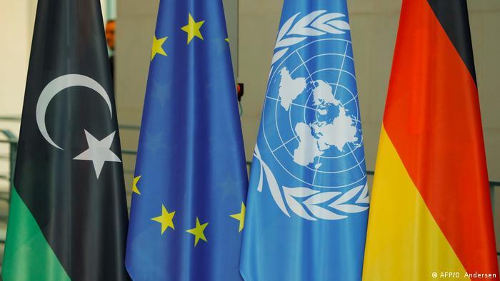 أعلام ليبيا، ألمانيا، الاتحاد الأوروبي والأمم المتحدة