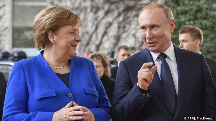 Меркель и Путин в Берлине, январь 2020
