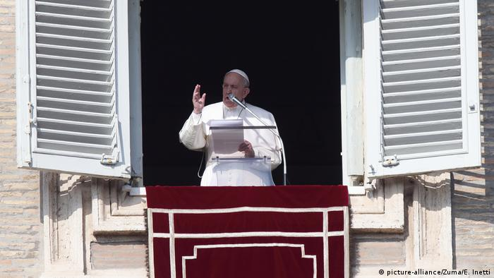 Pope Francis delivers a prayer in St. Peter's Square at the Vatican.