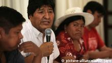 Bolivia's former President Evo Morales speaks during a meeting to announce the presidential candidate of the Movement Towards Socialism political party, MAS, in Buenos Aires, Argentina, Sunday, Jan. 19, 2020. It was announced that former foreign minister David Choquehuaca, will be the MAS presidential candidate in Bolivia's May 3 elections. (AP Photo/Daniel Jayo)  