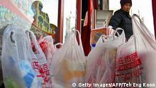 China Peking Einweg-Plastiktüten im Supermarkt
