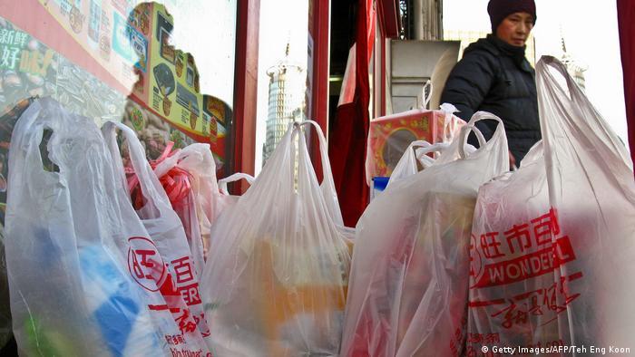 Bolsas de plástico de un supermercado de Pekín.