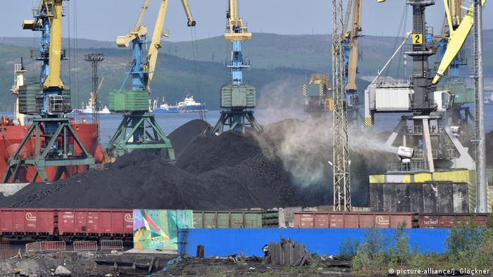 Russian hard coal, port of Murmansk