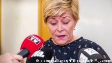 Oslo 15.01.2020 ** Partileder og finansminister Siv Jensen snakker med pressen etter gruppemøtet til Frp i Stortinget onsdag. Foto: Håkon Mosvold Larsen / NTB scanpix / TT / kod 20520  