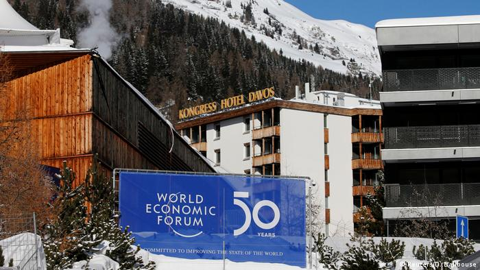 A sign advertising the World Economic Forum