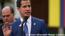 January 20, 2020*** Venezuela's opposition leader Juan Guaido speaks to journalists after attending a regional counter-terrorism meeting at the police academy in Bogota, Colombia, Monday, Jan. 20, 2020. Colombian President Ivan Duque and U.S. Secretary of State Mike Pompeo also attended the meeting. (AP Photo/Ivan Valencia)