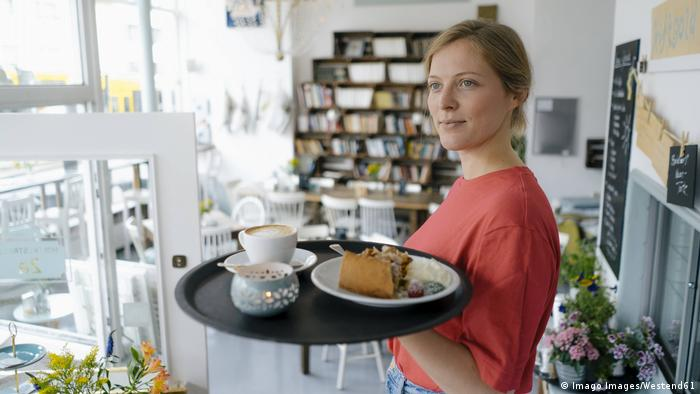 A waitress in a cafe