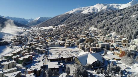 Davos city covered in snow
