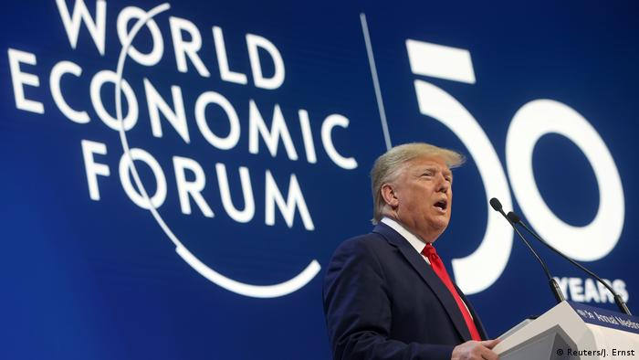 US President Donald Trump speaks at Davos