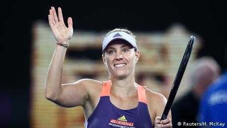 Angelique Kerber celebrates a win in Melbourne Park