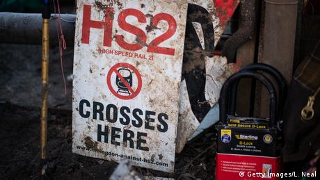 An anti-HS2 sign at a climate protest camp