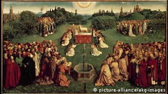At the center of the alterpiece: Adoration of the Mystic Lamb
