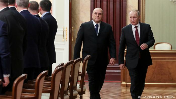 Президент России Владимир Путин и глава правительства Михаил Мишустин, январь 2020 года