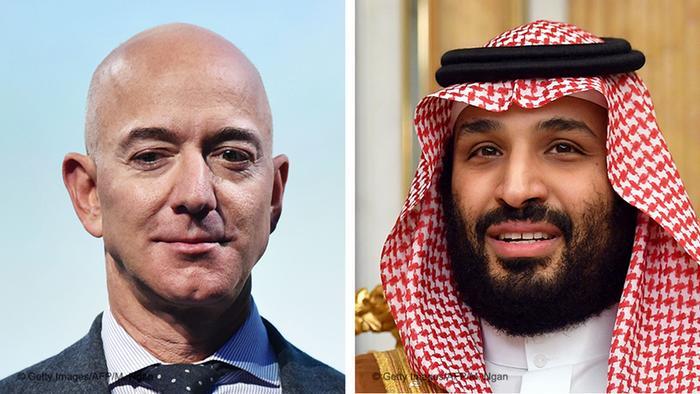 Combo photo: Jeff Bezos Mohammed bin Salman