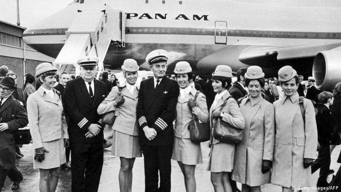 The aircrew of the first commercial flight of the Boeing 747 from New York to London for Pan American