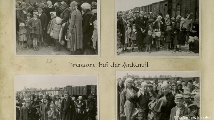 Photos of people arriving at Auschwitz-Birkenau (Yad Vashem, Jerusalem )