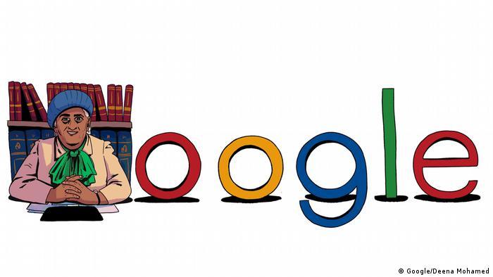 Google Doodle, das die ägyptische Anwältin Mufidah Abdul Rahman darstellt. (Google/Deena Mohamed)