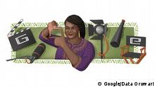 """Today's Doodle, illustrated by Nigerian-raised, Brooklyn-based guest artist Data Oruwari, celebrates award-winning Nigerian writer, director, entrepreneur, and producer Amaka Igwe on her 57th birthday. Igwe helped transform the Nigerian film industry and built a media empire from the ground up. Uzoamaka 'Amaka' Audrey Igwe was born on this day in 1963 in Port harcourt, Rivers State, Nigeria. At an early age, Amaka showed deep interest in the performing arts, as she organized her school's variety shows, taught performance dance, as well as wrote, acted, and directed plays. During her postgraduate studies, Igwe started focusing on theater and what she considered to be her first gift: writing. She developed her first television series screenplay, Checkmate, widely considered the best Nigerian soap opera of the 1990s. This led to her directorial debut in the feature film Rattlesnake (1995 for Crystal Gold Limited), a smash hit in her home country, followed by films like Violated (1995 for Crystal Gold Limited) and A Barber's Wisdom (2001 for Mnet), which helped set a higher production standard for """"Nollywood"""" at the time. She wrote and directed the phenomenally successful Fuji House of Commotion (2001-2012 for Crystal Gold Limited), which gave her dominance of the national television series industry. Passionate about growing the local industry, Igwe also helped organize the guild system that served the executive boards of the Association of Movie Producers, and was also a patron of the National Association of Cinematographers, the Screenwriters Guild and the Guild of Movie Editors. As a champion of efficient local distribution as the basis for Nollywood's growth, Igwe and her business partner also organized an enhanced market distribution system and helped improve quality and fairness in the industry. On an international level, Igwe led delegations to South Africa, United Kingdom, United States and France, among other countries, to present the unique Nigerian approach t"""