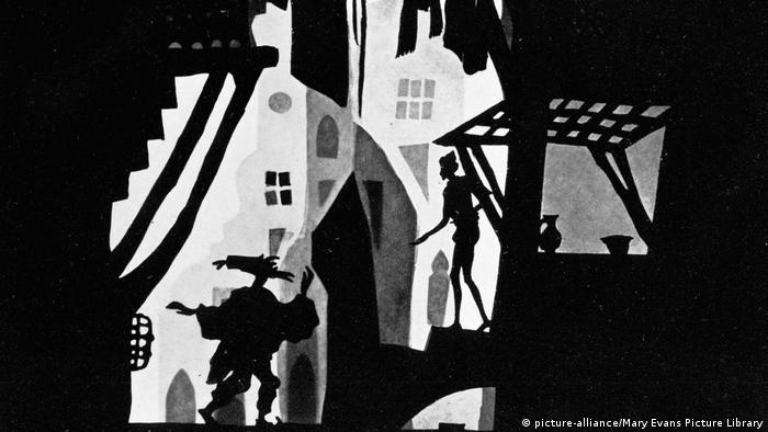 Orientalische Straßenszene eines Silhouetten-Animationsfilms (picture-alliance/Mary Evans Picture Library)