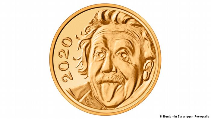 World's smallest gold coin with Einstein poking tongue out