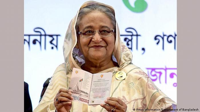 Bangladeshi Prime Minister Sheikh Hasina at a conference in Dhaka