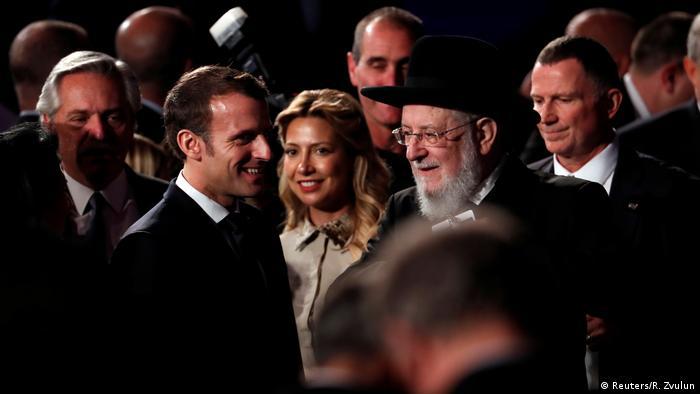العديد من قادة العالم شاركوا في إحياء ذكرى ضحايا الهولوكست. في الصورة الرئيس الفرنسي إيمانويل ماكرون.